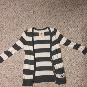 Hollister gray and white striped cardigan.